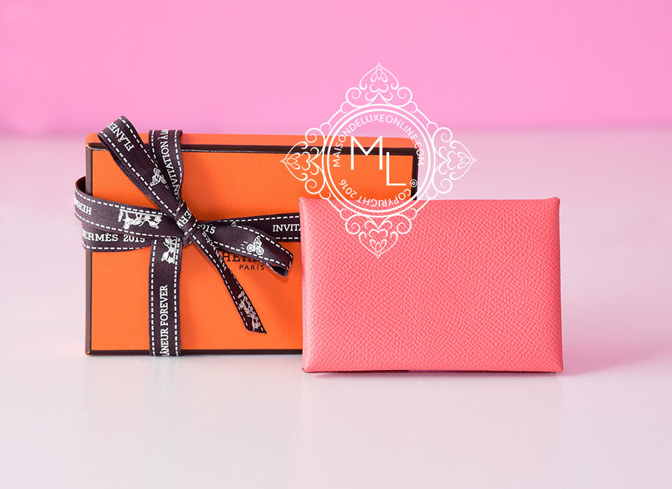 Hermes Flamingo Pink Epsom Calvi Card Case Holder - New - MAISON de LUXE - 1