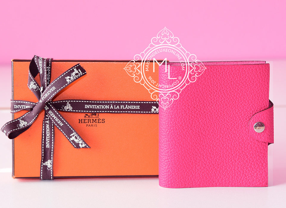 Hermes Rose Fluo Ulysse Notebook Cover Mini - New - MAISON de LUXE - 1