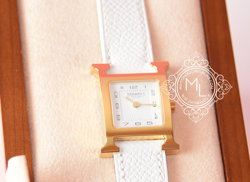 Hermes Gold H Hour Watch PM White Strap Bracelet - New - MAISON de LUXE - 4