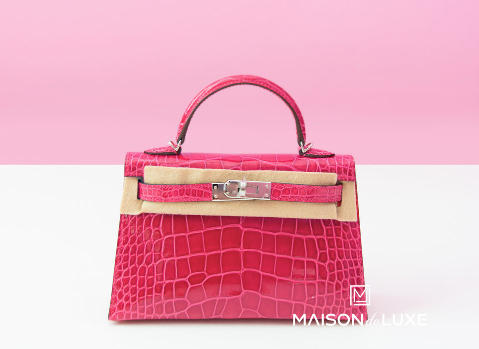Hermes Rose Extreme Crocodile Mini Kelly II 20 cm