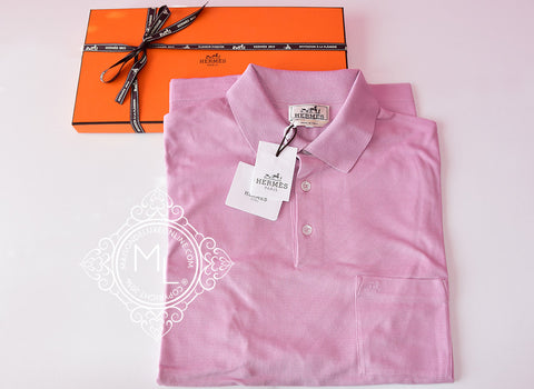 Hermes Men's Sports Rose Clair Pink Polo Shirt X-Large - New - MAISON de LUXE - 1