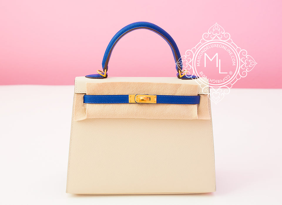 Hermes Craie + Blue Electrique HSS Sellier Kelly 25 Handbag