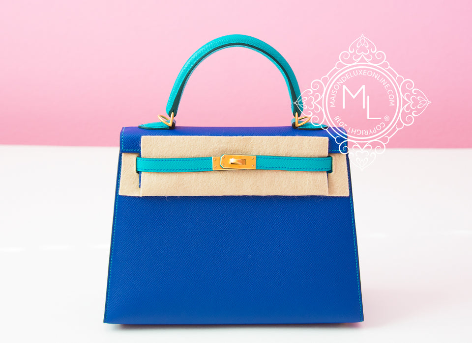 Hermes Blue Electrique + Blue Paon HSS Sellier Epsom Kelly 25 Handbag
