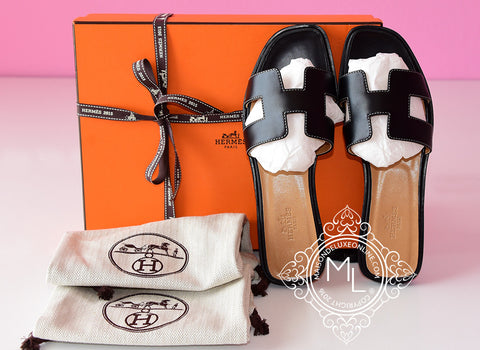 Hermes Womens Black Oran Sandal Slipper 36 Shoes - New - MAISON de LUXE - 1