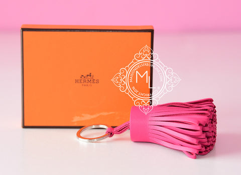 Hermes Pink Rose Shocking Carmen Keychain Bag Charm - New - MAISON de LUXE - 1