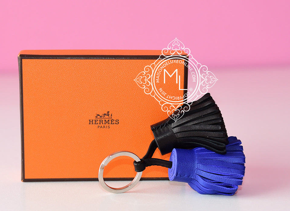 Hermes Blue Electrique Black Carmen Duo Keychain Bag Charm - New - MAISON de LUXE - 1