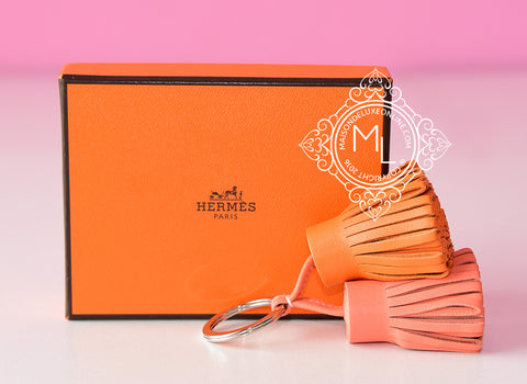 Hermes Orange Crevette Carmen Duo Keychain Bag Charm - New - MAISON de LUXE - 1