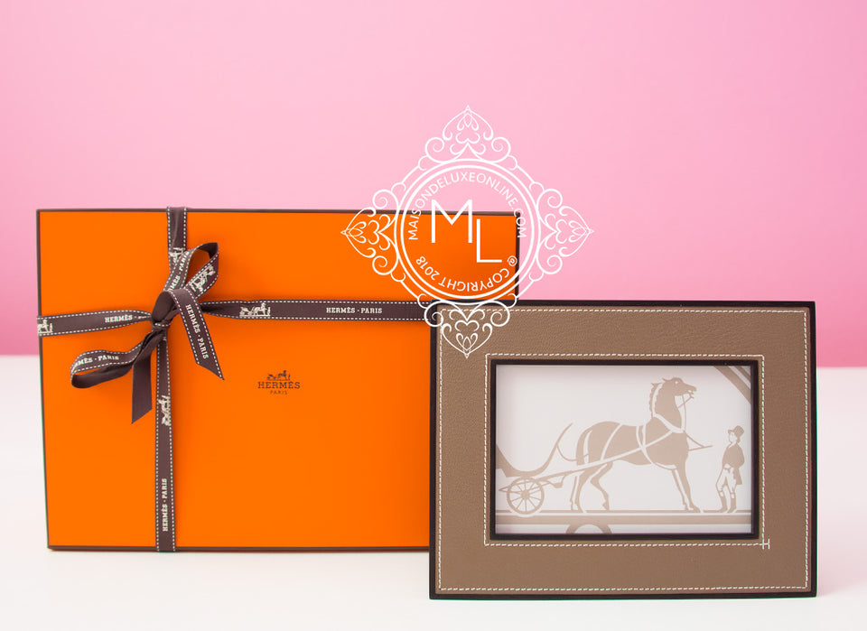 Hermes Classic Pleiade Etoupe Leather Photo Frame