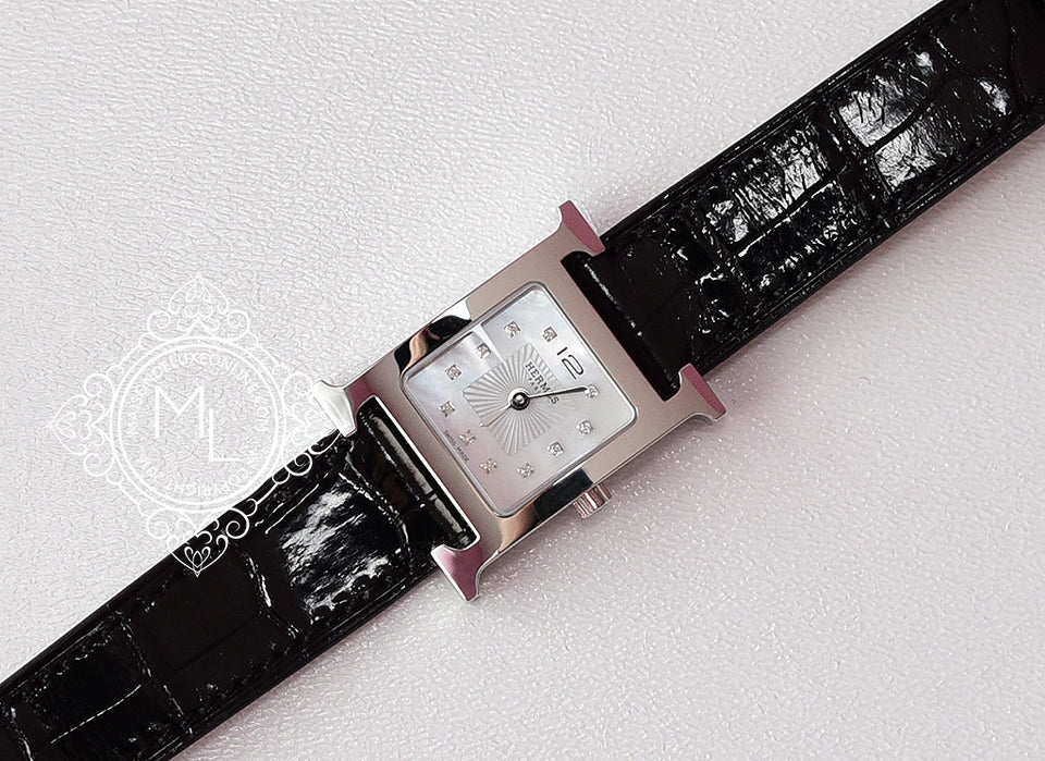 Hermes Diamond H Hour Watch PM Black Crocodile Strap - New - MAISON de LUXE - 6