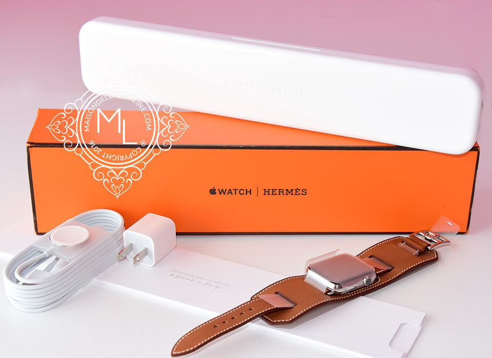 Hermes 42 mm Brown Fauve Barenia Apple Watch Cuff Bracelet - New - MAISON de LUXE - 1