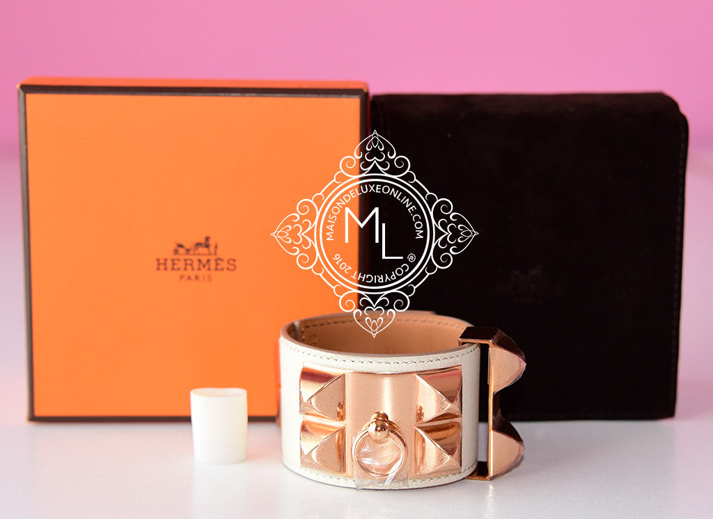 Hermes Craie Rose Gold Swift Collier De Chien Bracelet Cuff S - New - MAISON de LUXE - 1