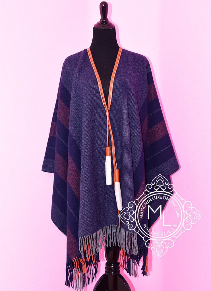 Hermes Blue Grey Rocabar Poncho Cape Shawl Top - New - MAISON de LUXE - 1