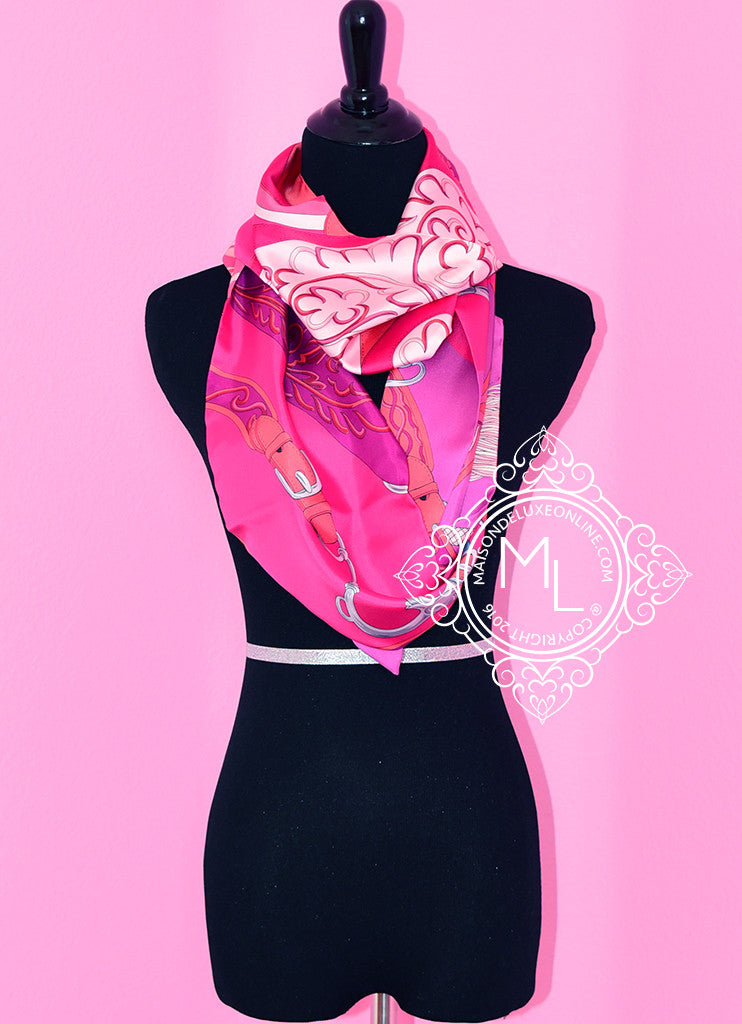 Hermes Fuchsia Pink Indien Corail Festival des Amazones Silk Maxi Twilly Shawl Scarf Wrap - New - MAISON de LUXE - 1