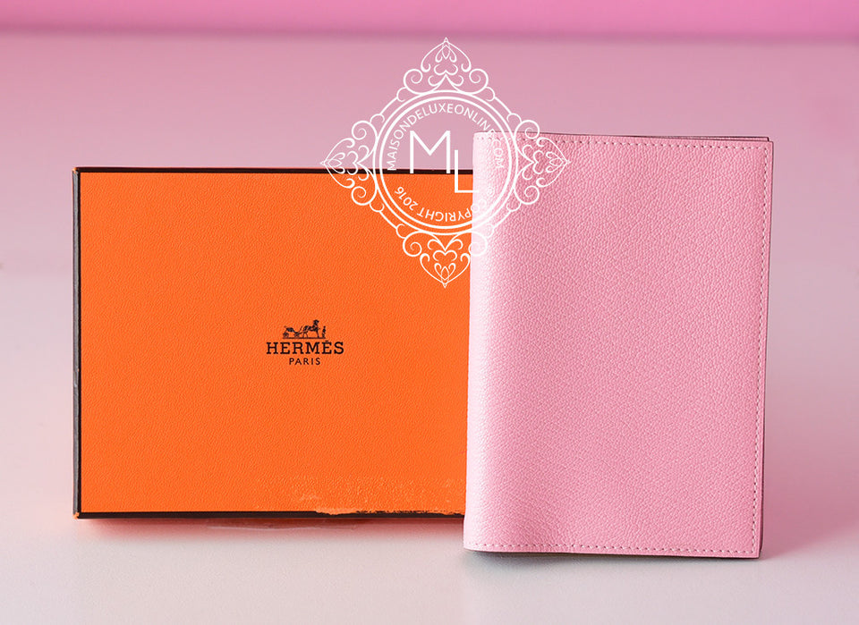 Hermes Rose Sakura Vision Passport / Agenda Notebook Cover (no refill) - New - MAISON de LUXE - 1