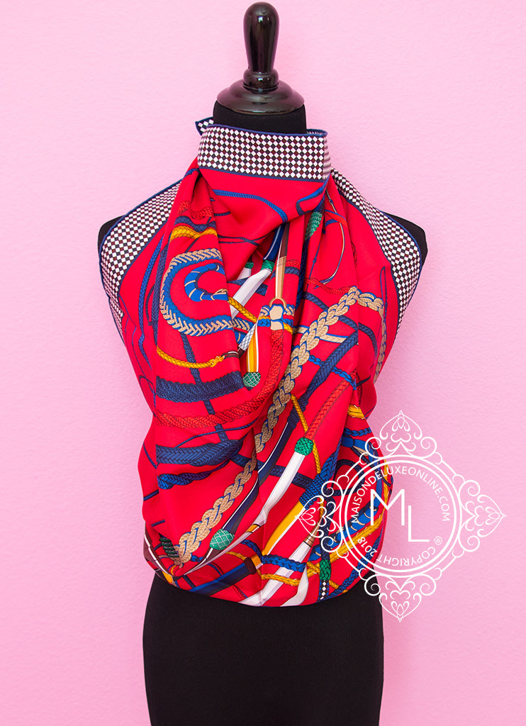 Hermes Red Twill Silk 90 cm Fouets et Badines Scarf