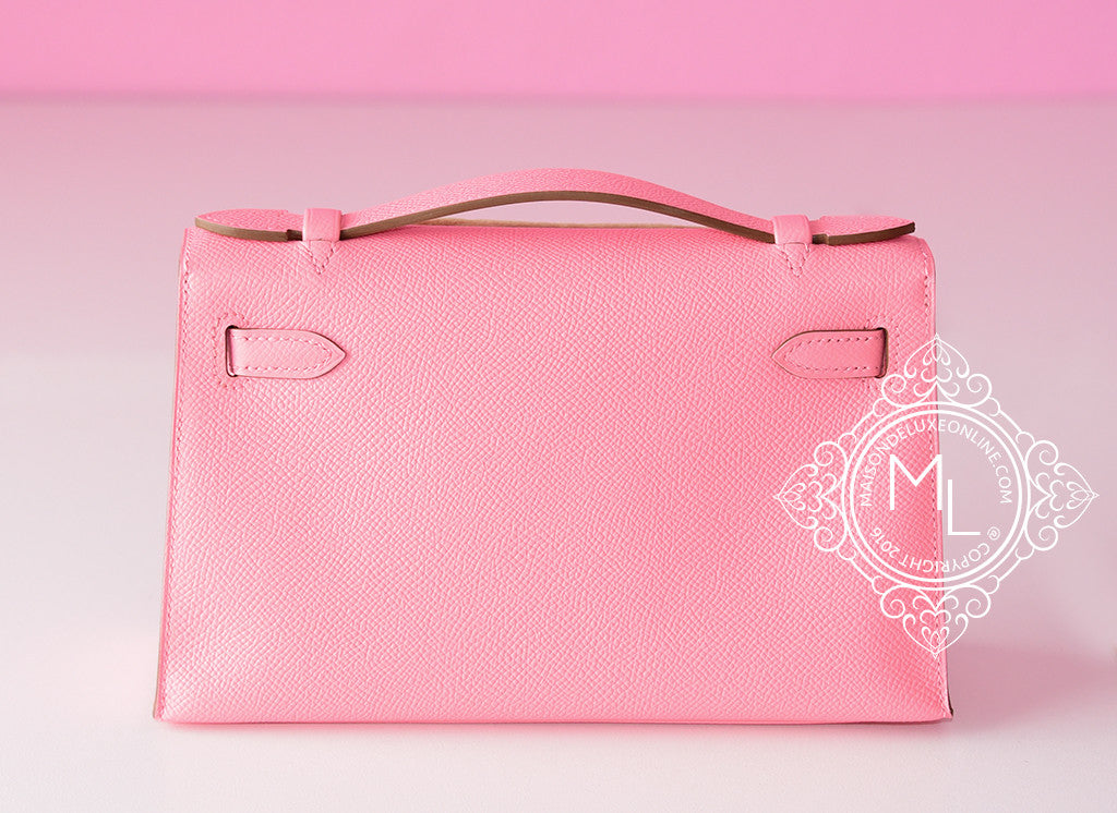 56a92acd0b ... Hermes Pink Rose Confetti Epsom Mini Kelly Pochette Clutch - New -  MAISON de LUXE ...