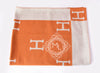 Hermes Large Orange Pumpkin Wool Cashmere H Avalon Blanket - New - MAISON de LUXE - 4