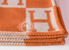 Hermes Large Orange Pumpkin Wool Cashmere H Avalon Blanket - New - MAISON de LUXE - 7