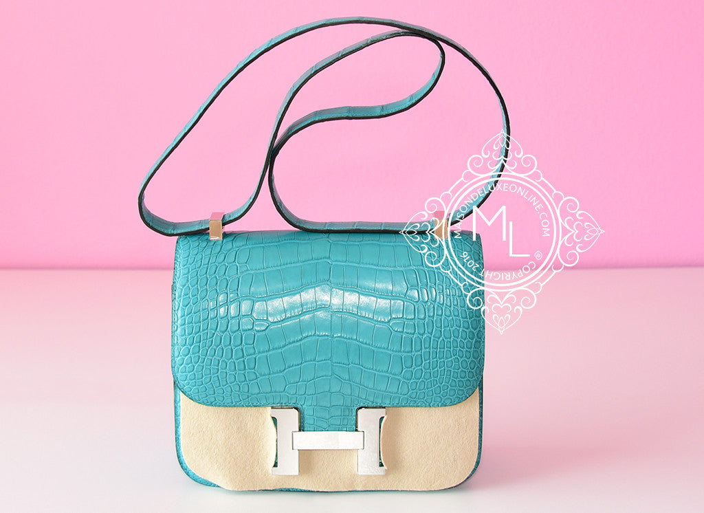 Hermes Blue Paon Crocodile Constance MM 24/25 Handbag - New - MAISON de LUXE - 1