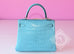 Hermes Blue Saint CYR Matte Crocodile Kelly 25 Handbag - New - MAISON de LUXE - 4