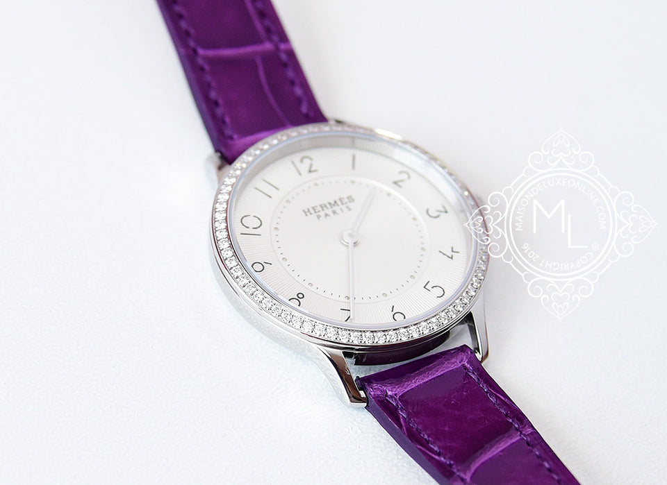 Hermes Diamond Slim d'Hermès Purple Crocodile Watch MM - New - MAISON de LUXE - 1