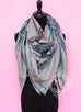 "Hermes ""Pirouette au Galop"" Gray Cashmere 140 GM Shawl Scarf"