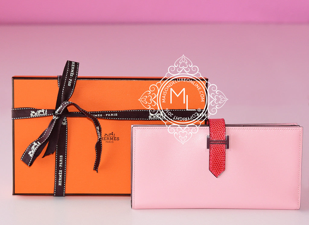 Hermes Rose Sakura Bougainvillea Lizard Pink Bearn Long Wallet - New - MAISON de LUXE - 1