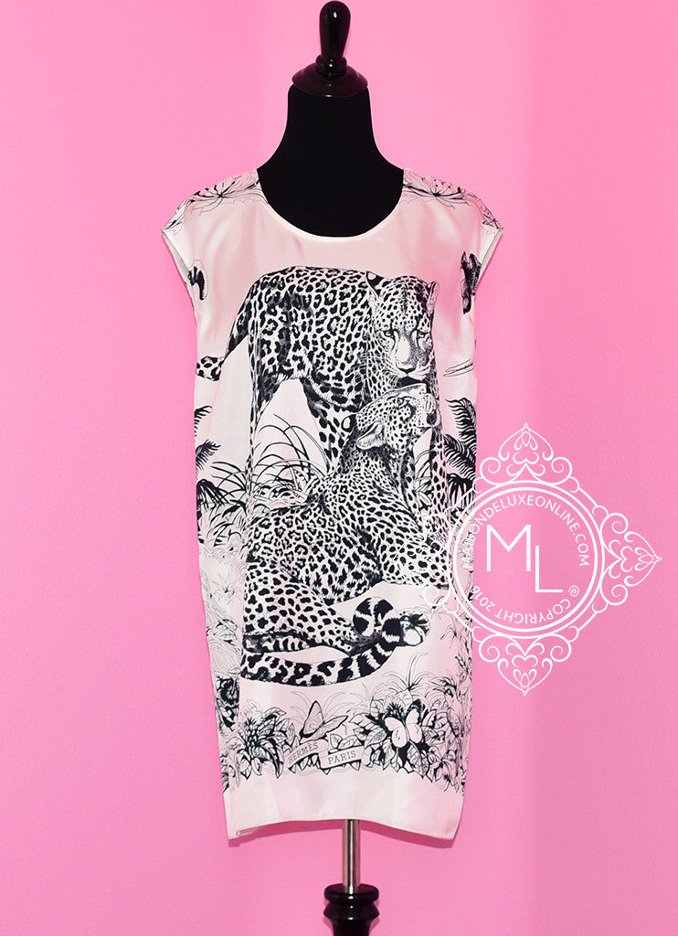 Hermes White Jungle Love Silk Tunic Dress 34 fit 36  - New - MAISON de LUXE - 1