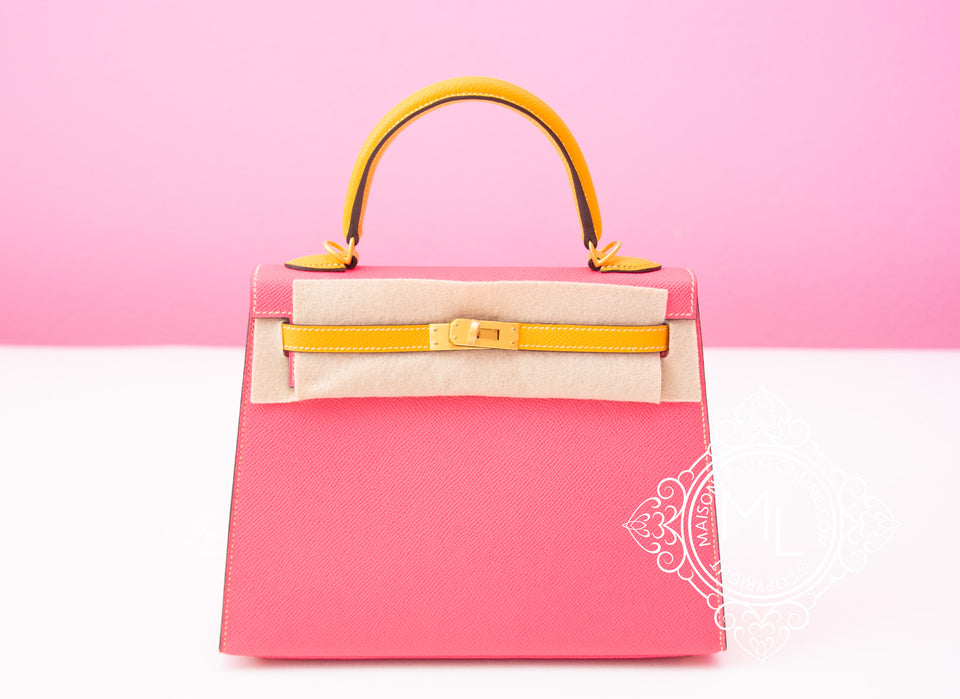 Hermes Rose Azalee + Jaune d'Or HSS Sellier Epsom Kelly 25 Handbag