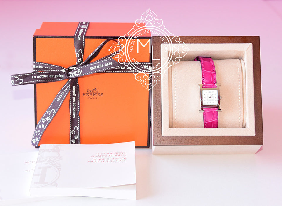Hermes Diamond H Hour Watch PM Fuchsia Crocodile Strap - New - MAISON de LUXE - 1