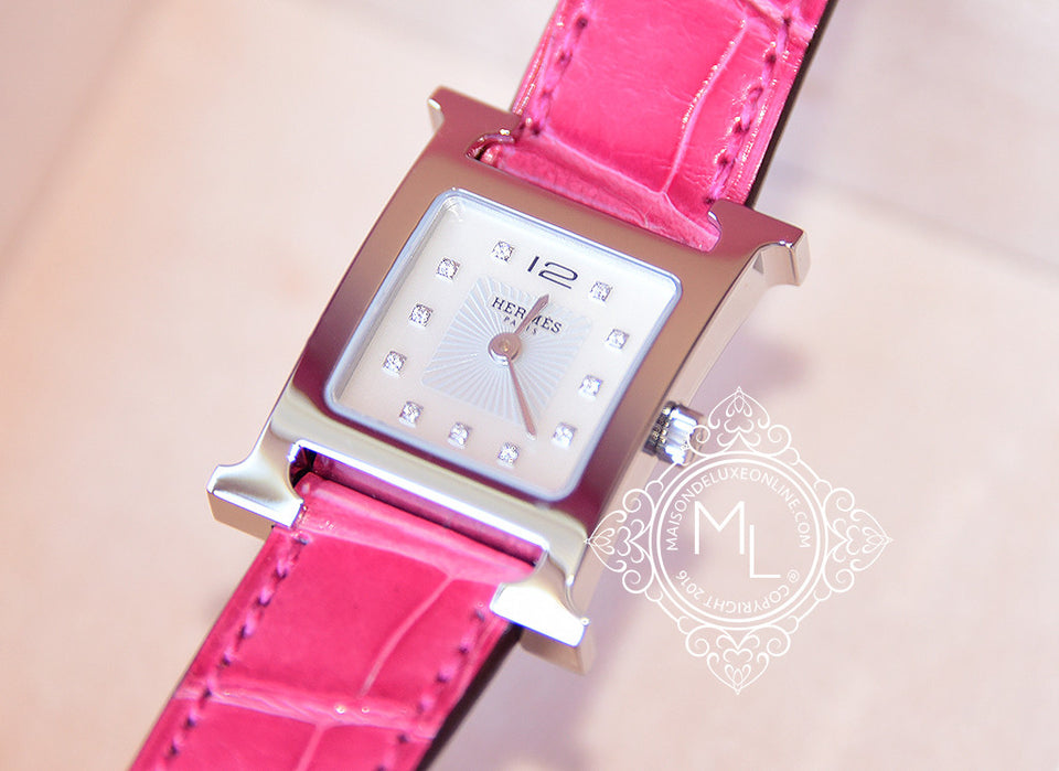 Hermes Diamond H Hour Watch PM Fuchsia Crocodile Strap - New - MAISON de LUXE - 6