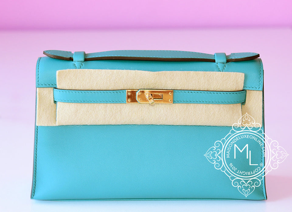 Hermes Blue Bleu Paon Mini Kelly Pochette Clutch - New - MAISON de LUXE - 1