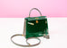 Hermes HSS Vert Emeraude + Gris Tourterelle Crocodile Sellier Kelly 25 Handbag