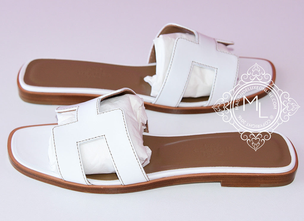 7cbe6b63b004 ... Hermes Womens White Oran Sandal Slipper 36 Shoes - New - MAISON de LUXE  - 2 ...