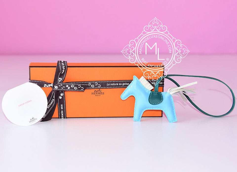 Hermes Celeste Baby Blue Rodeo Bag Charm Pm- New - MAISON de LUXE - 1