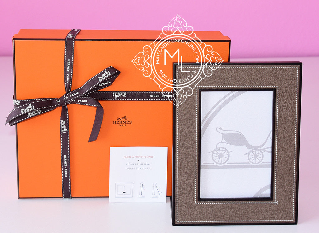 Hermes Classic Pleiade Etoupe Leather Photo Frame - New - MAISON de LUXE - 1
