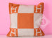 Hermes Classic Pumpkin Orange Wool Cashmere Avalon Cushion Pillow - New - MAISON de LUXE - 3