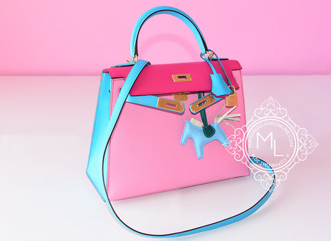 Hermes 5P Pink Rose Shocking Blue Aztec Sellier Chèvre Kelly 28 Handbag - New