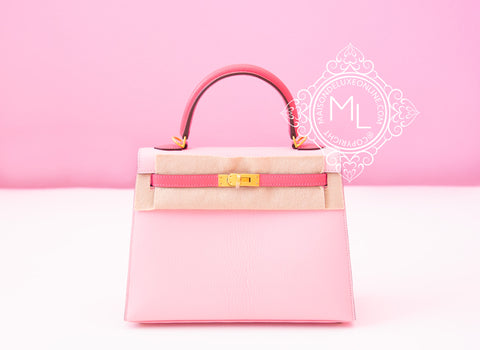 Hermes Pink Rose Sakura + Rose Lipstick HSS Sellier Kelly 25 Handbag - New