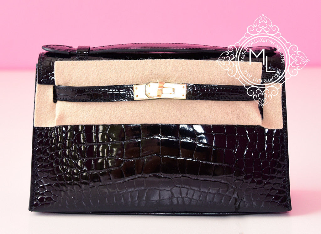 Hermes Black GHW Alligator Crocodile Mini Kelly Pochette Clutch
