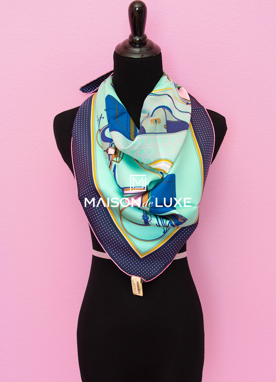 "Hermes ""Les Voitures a Transformation"" Green Twill Silk 90 cm Scarf"
