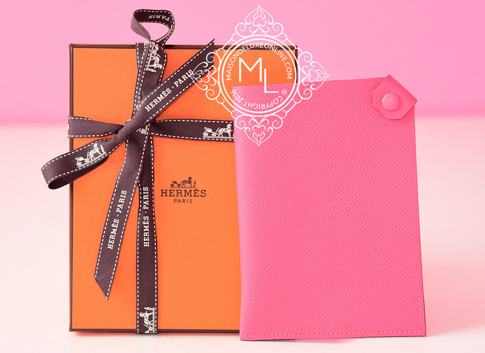 Hermes Rose Azalee Pink Epsom Tarmac Passport Cover PM
