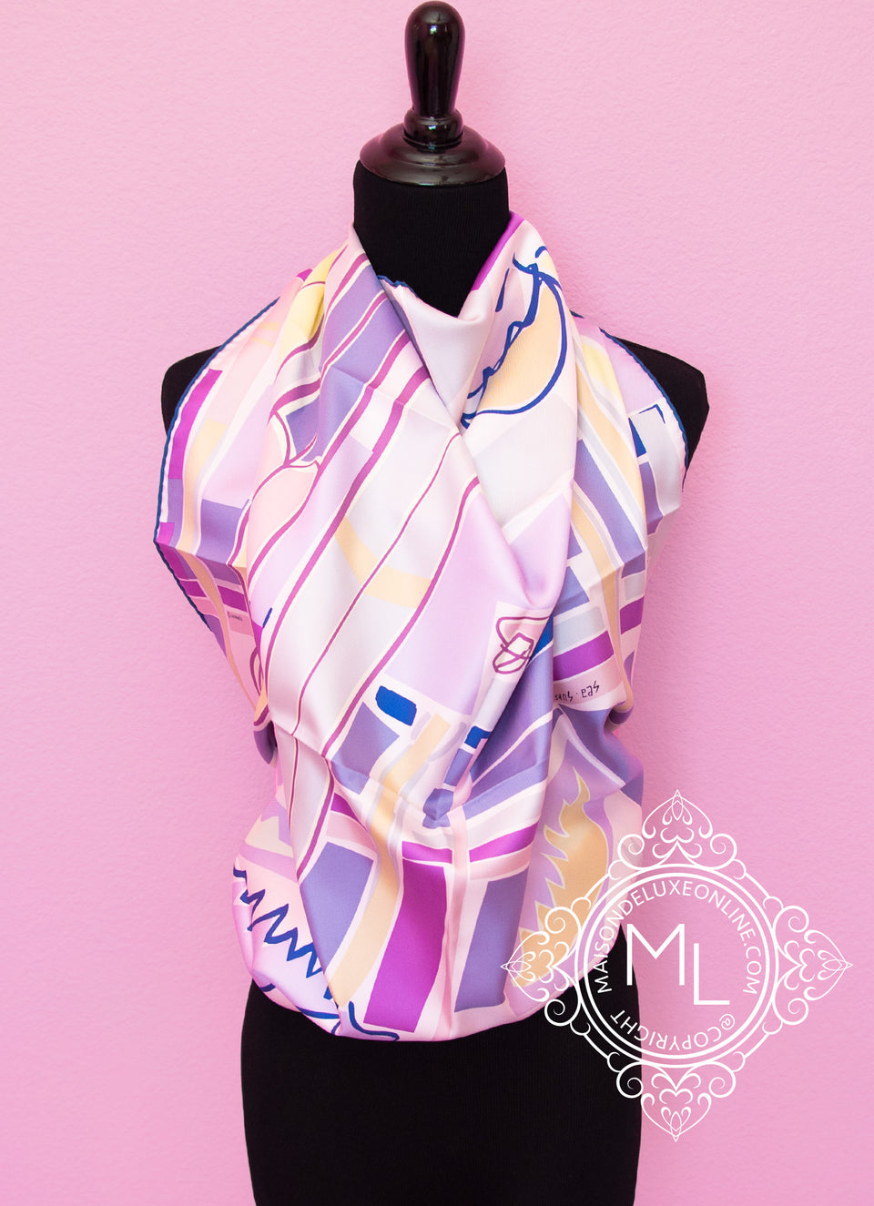 Purple Twill Silk 90 cm Sea Surf and Fun Scarf