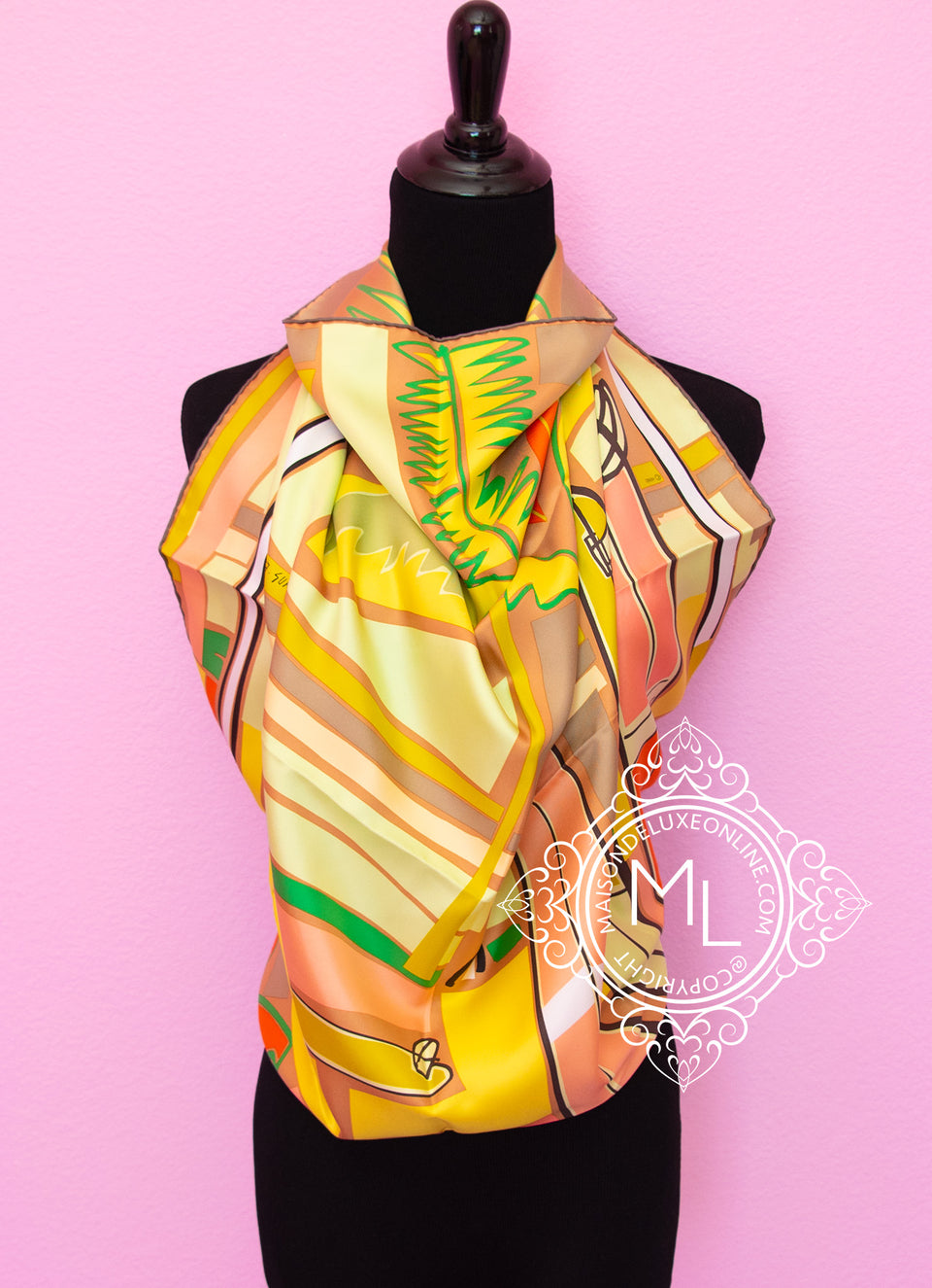 Yellow Twill Silk 90 cm Sea Surf and Fun Scarf