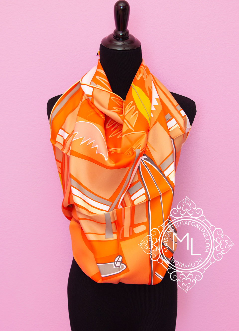 Orange Twill Silk 90 cm Sea Surf and Fun Scarf