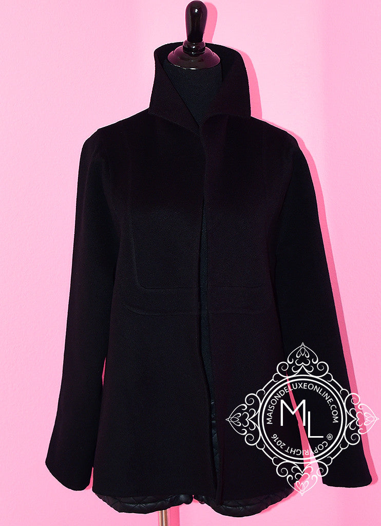 Hermes 2016 Fall Black Double Face Cashmere Coat Eu 38