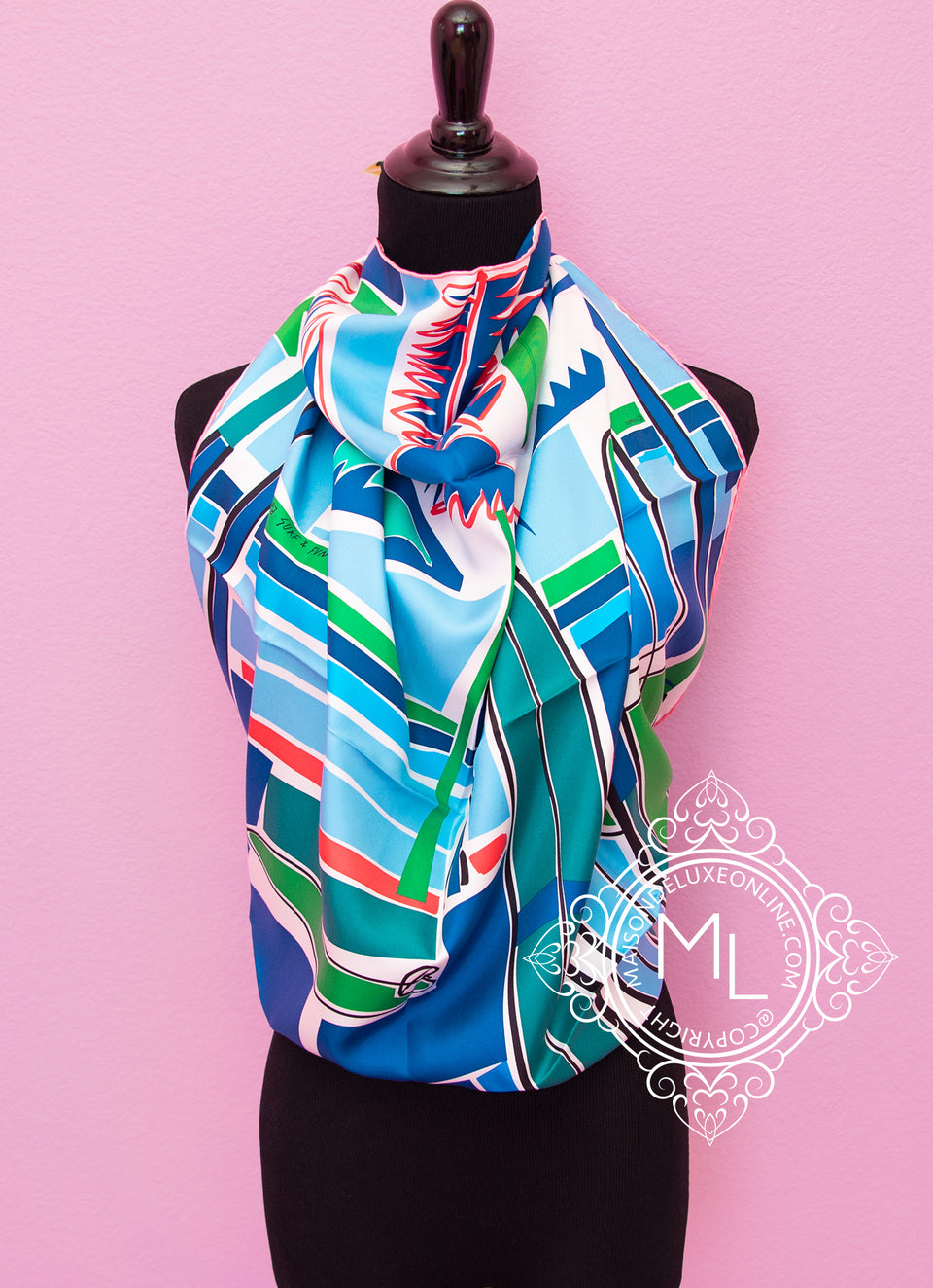 Green Twill Silk 90 cm Sea Surf and Fun Scarf