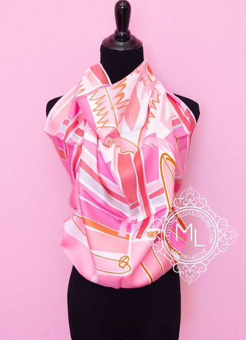 Pink Twill Silk 90 cm Sea Surf and Fun Scarf