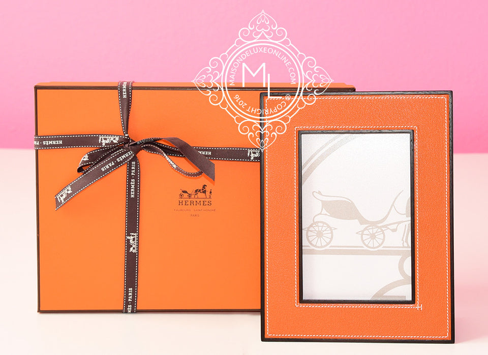 Hermes Classic Pleiade Pumpkin Potiron Leather Photo Frame