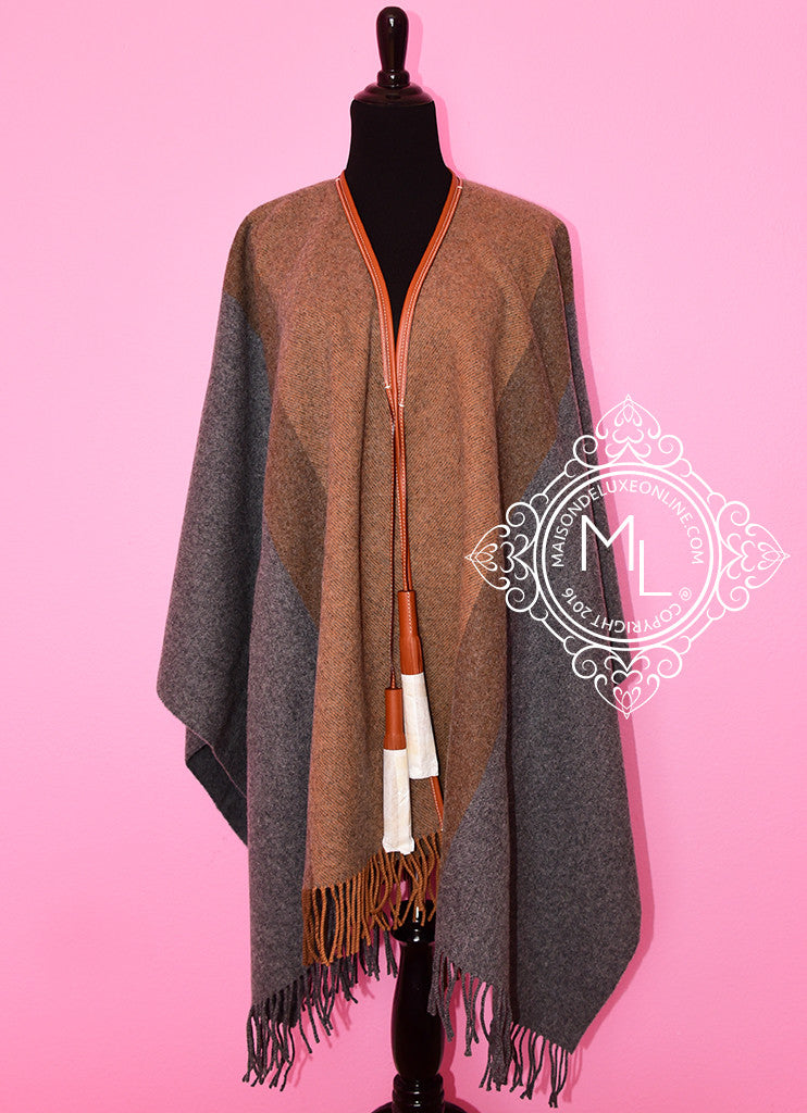Hermes Cashmere Wool Gold Grey Rocabar Bivouac Poncho Cape